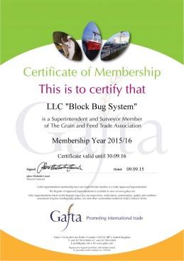Gafta Superintendent membership certificate 2015-16